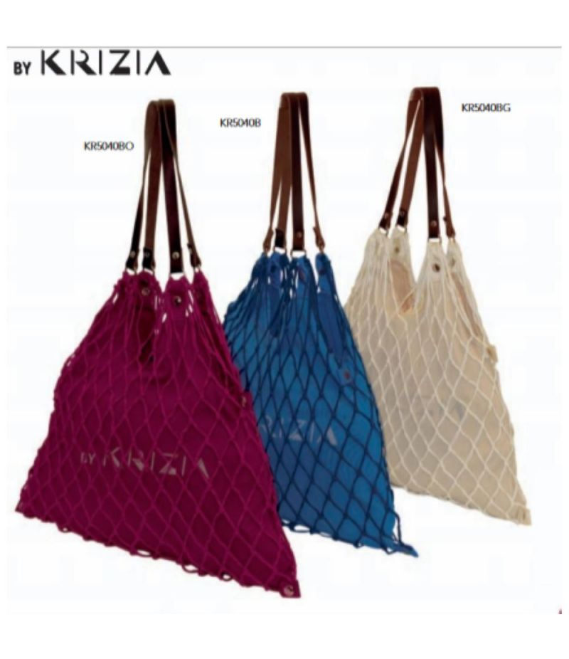 KRIZIA Borsa Shopping bag in rete BORDEAUX 40x35 cm