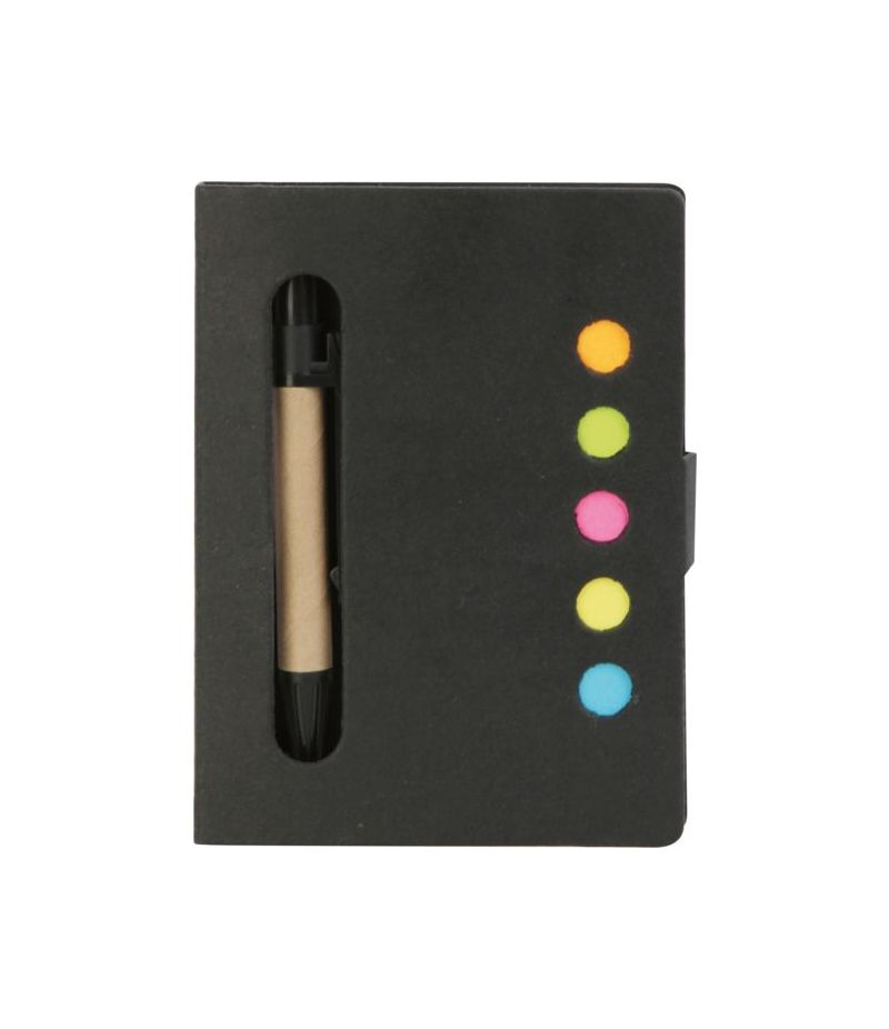 Blocco note in cartone riciclato con penna a sfera e post it