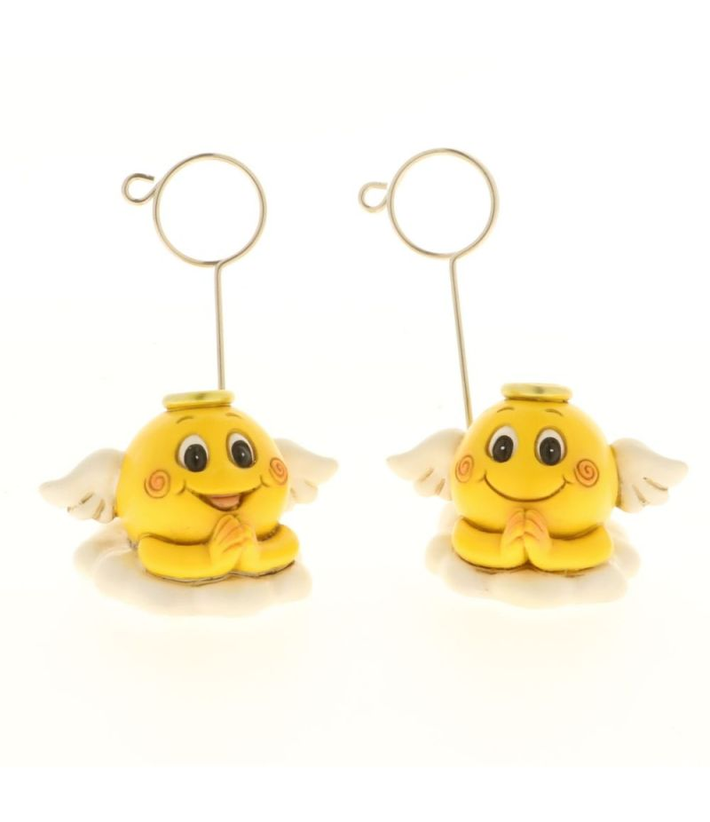 1 PZ ANGEL SMILE Emoticon angelo segnaposto resina 8 cm BOMBONIERA