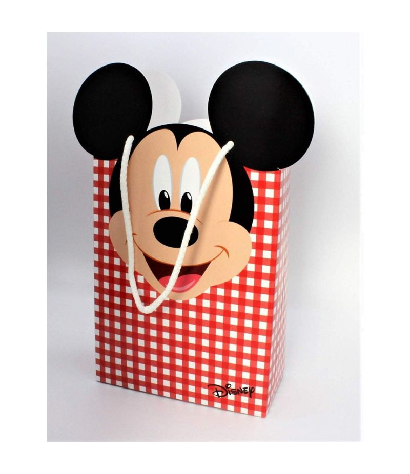 TOPOLINO DISNEY PARTY Busta shopper 16x8x21 cm ROSSO QUADRI