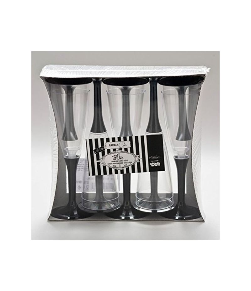 Set da 10 Bicchieri Flutes Crystal NERO feste e party