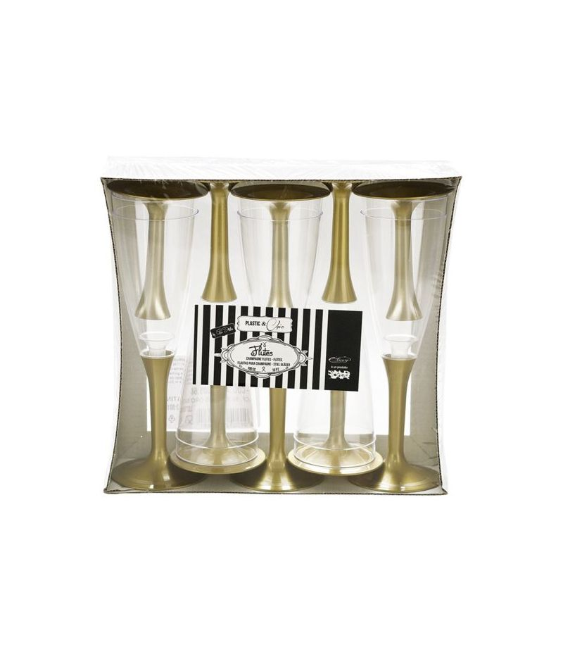Set da 10 Bicchieri Flutes Crystal ORO SATINATO feste e party