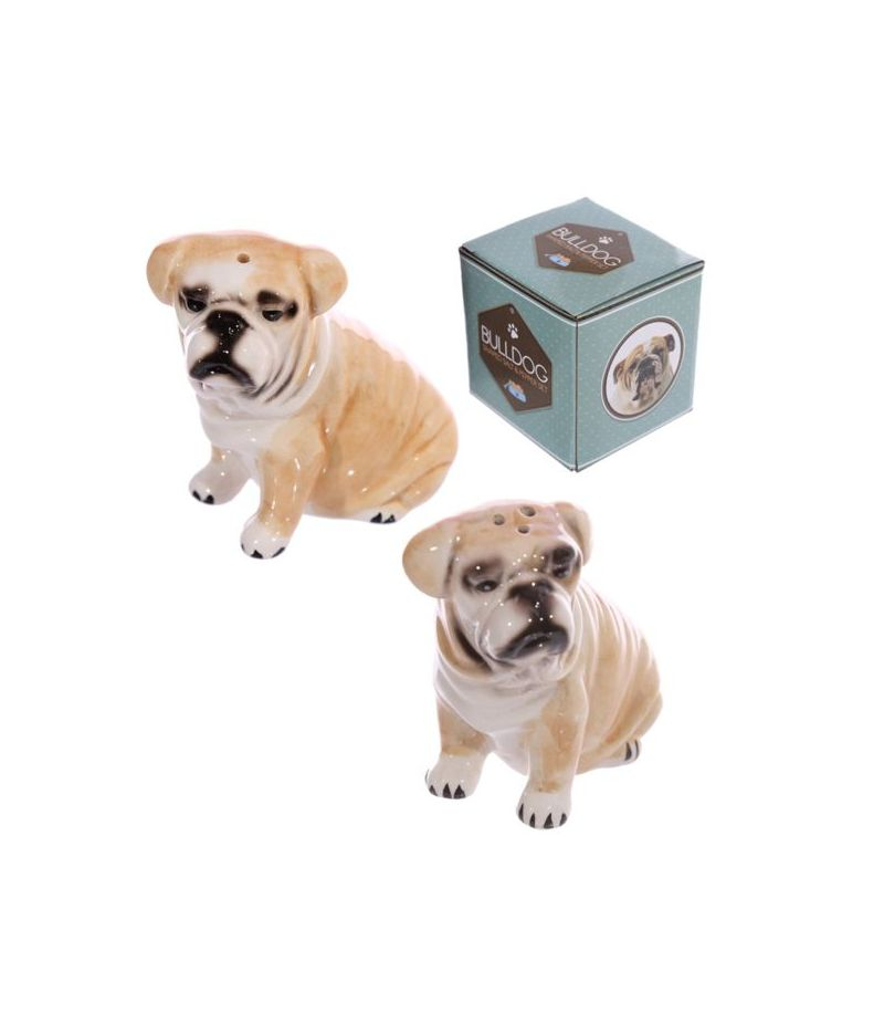 Set sale e pepe a forma di Bulldog in ceramica