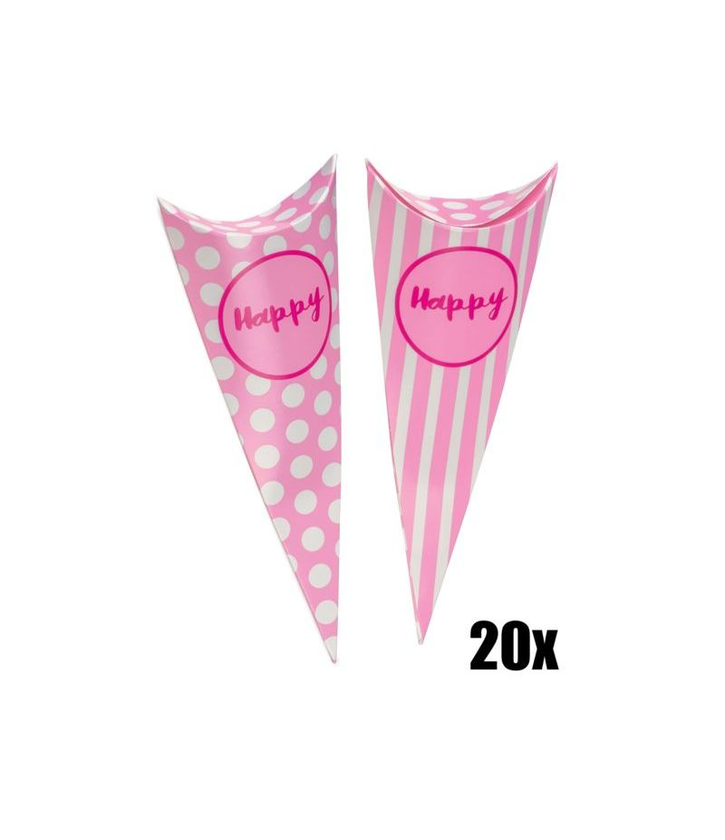 20 PZ Cono Party ROSA porta caramelle Linea Happy