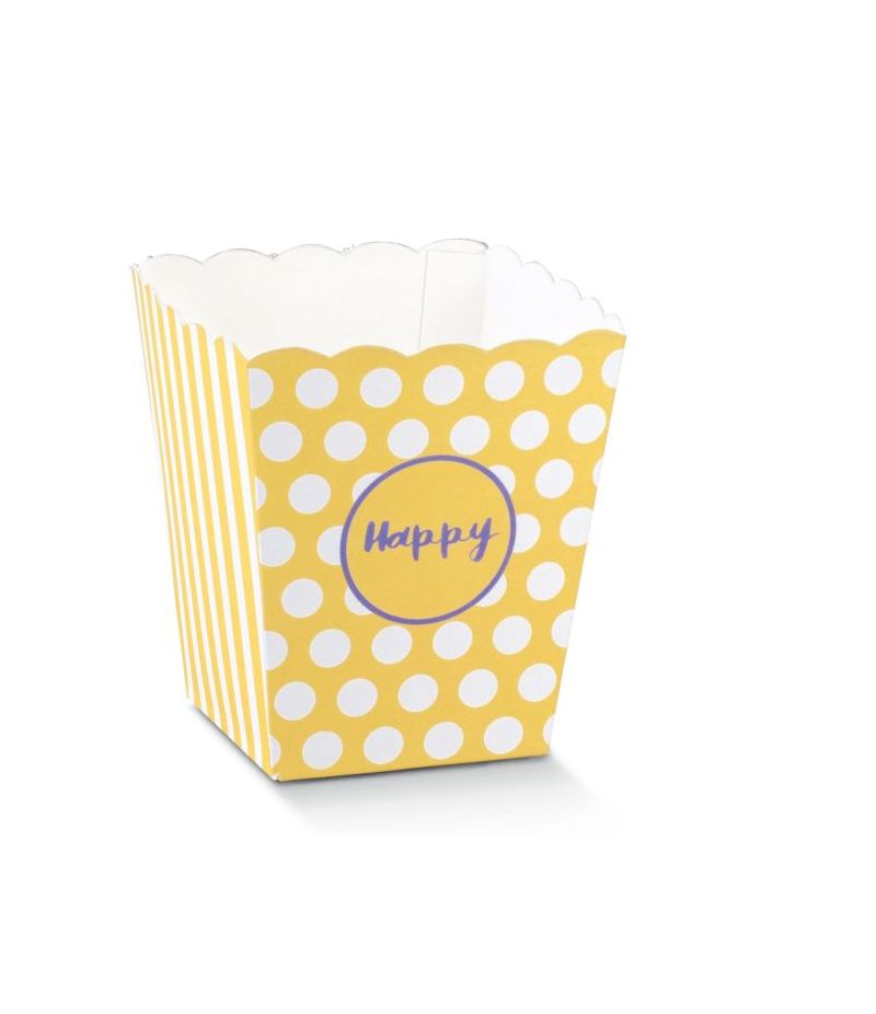 Vaso portadolci porta caramelle 7X7X11 HAPPY GIALLO feste e party