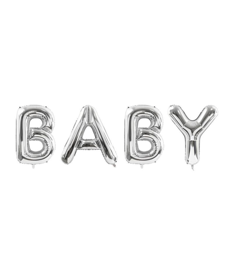 Palloncino foil mylar scirtta BABY ARGENTO 262x86 cm