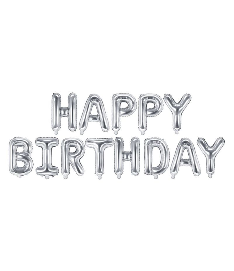 Palloncino foil mylar compleanno HAPPY BIRTHDAY ARGENTO 340x35 cm
