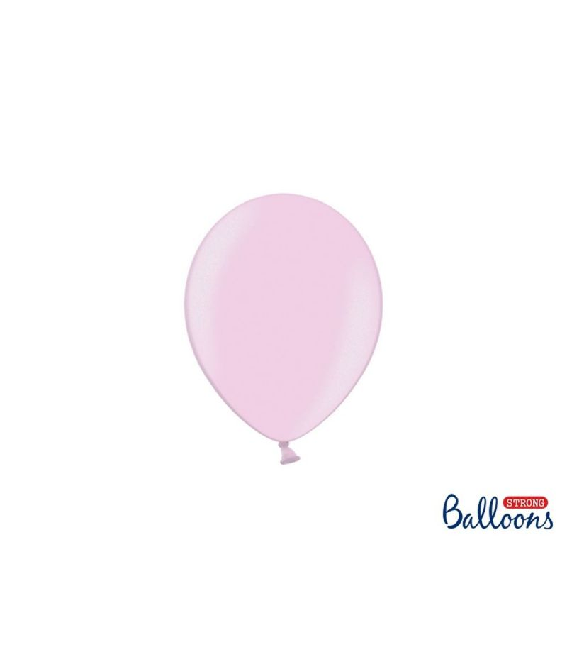 100 PZ Palloncino Palloncini Lattice 12 cm ROSA CONFETTO metallic