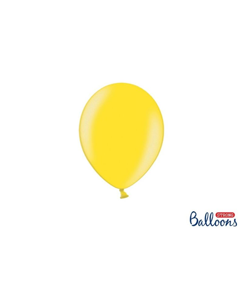 100 PZ Palloncino Palloncini Lattice 12 cm GIALLO LIMONE metallic