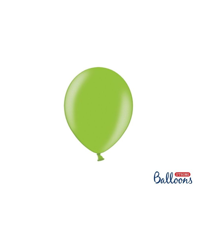 100 PZ Palloncino Palloncini Lattice 23 cm VERDE LUMINIOSO metallic