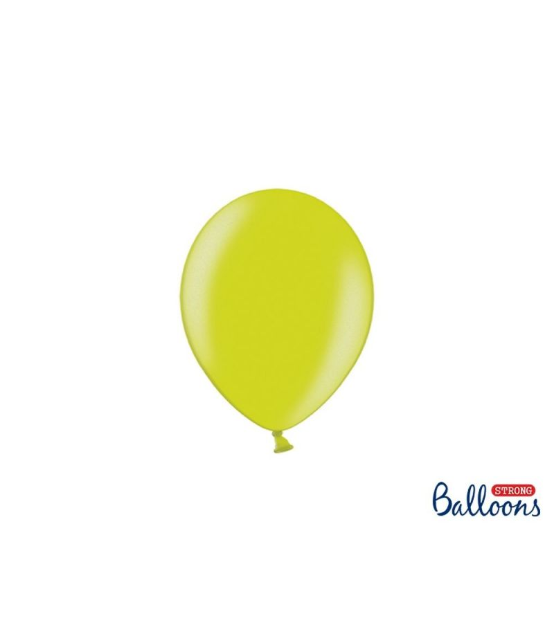 100 PZ Palloncino Palloncini Lattice 12 cm VERDE LIME metallic