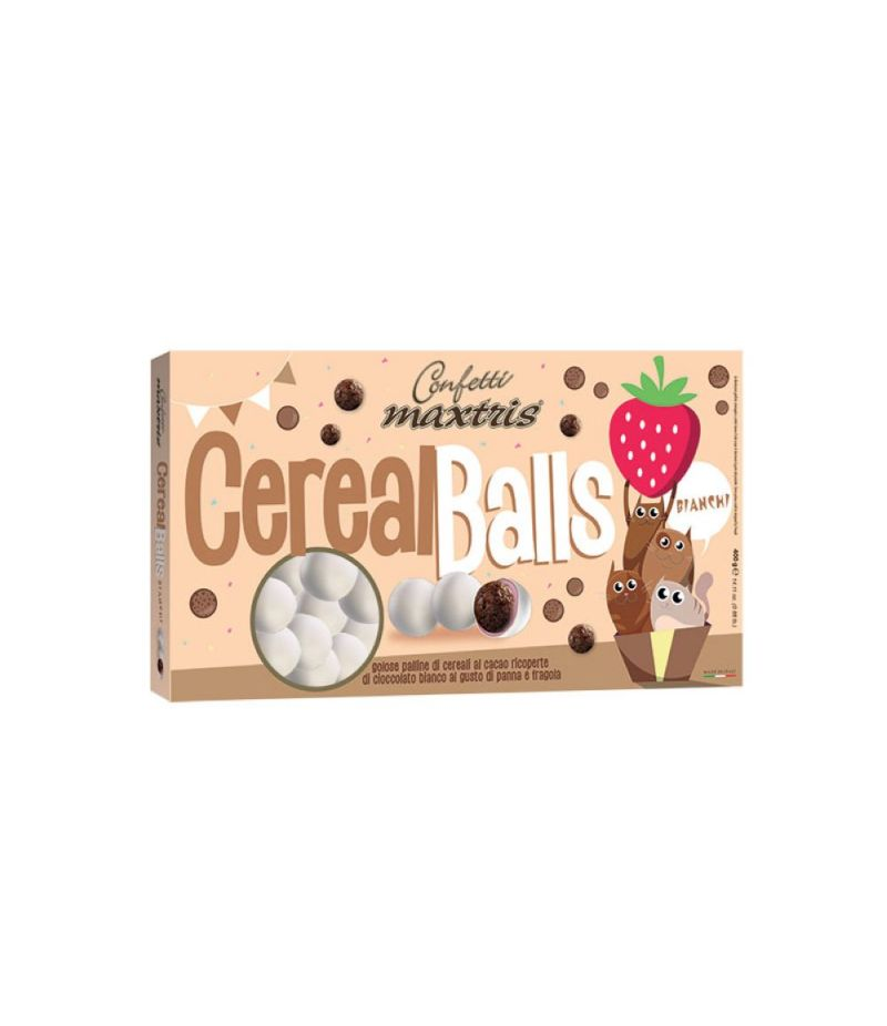 CONFETTI MAXTRIS LINEA PARTY Cereal Balls PANNA E FRAGOLA BIANCO 400 gr