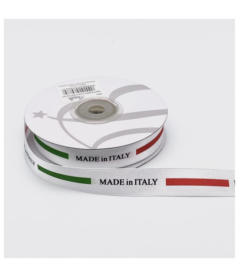 Nastro in raso con scritta MADE IN ITALY 15 mm x 25 metri
